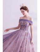 Bling Sequins Purple Ballgown Fantasy Prom Dress Off Shoulder