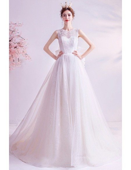 Romantic Long Train Wedding Dress Lace With Sheer Back