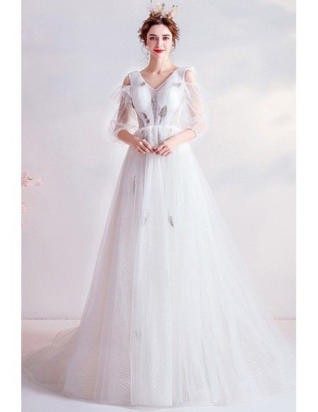 Fairytale Vneck Tulle Bubble Sleeved Wedding Prom Dress With Dotted Tulle