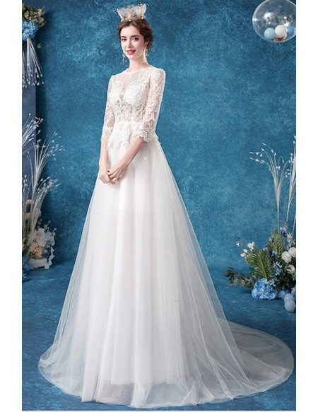 Boho Lace Sheer Top Tulle Wedding Dress With Sleeves