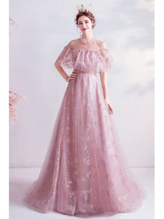 Dreamy Pink Aplique Lace Cute Prom Dress With Sheer Neckline