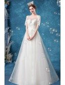 Retro Square Neck Aline Tulle Wedding Dress With Short Sleeves