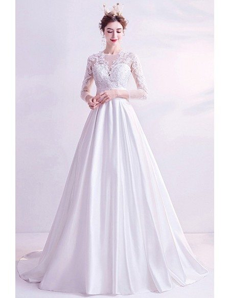Modest Aline Satin Lace Sleeved Wedding Dress With 3/4 Sleeves