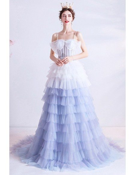 Unique Ombre Blue White Tutus Prom Dress Princess With Long Train