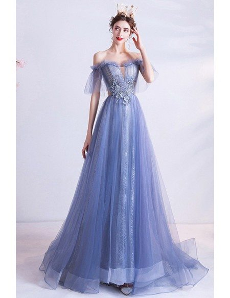 Blue Flowy Tulle Aline Long Prom Dress Strapless With Embroidery Flowers
