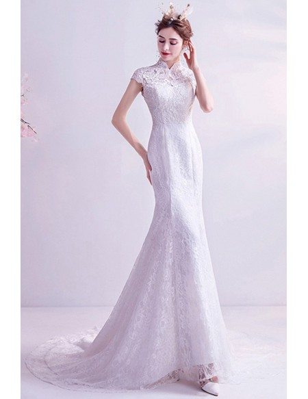 Classic Mermaid Lace Wedding Dress With Collar Lace Cap Sleeves