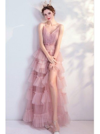 Pink Tulle Cute Birthday Party Dress With Straps