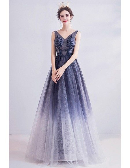 Bling Navy Blue Ombre Tulle Prom Dress Vneck With With Beading