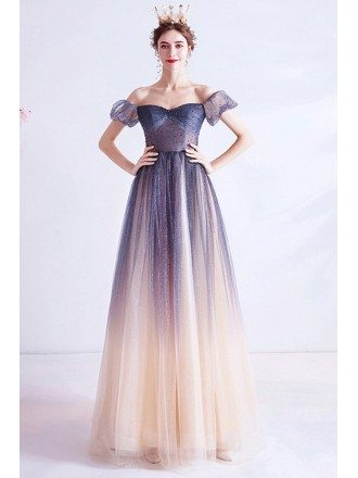 Mistery Ombre Tulle Blue Star Off Shoulder Aline Long Prom Dress With Sleeves