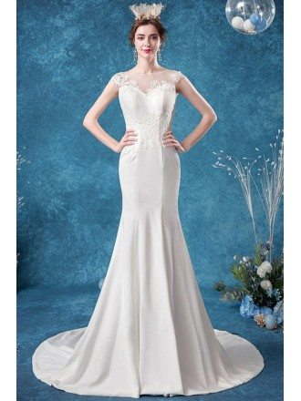 Elegant Mermaid Lace Wedding Dress With Illusion Neck Sweep Train