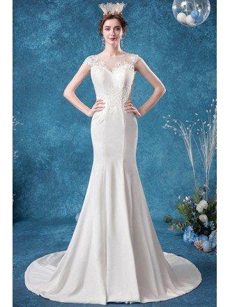 Elegant Mermaid Lace Wedding Dress With Illusion Neck Sweep Train