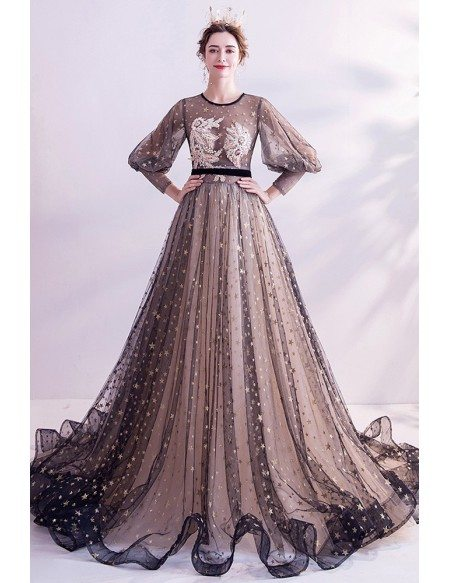 Bling Gold Stars Special Black Tulle Formal Prom Dress With Lantern Sleeves