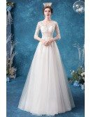 Retro Vneck Embroidery Sheer Top Wedding Dress With Half Sleeves