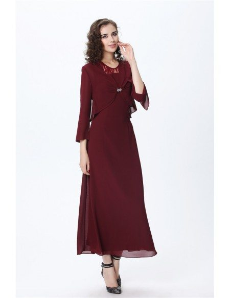 Elegant A-Line Scoop Neck Chiffon Mother of the Bride Dress With Jacket