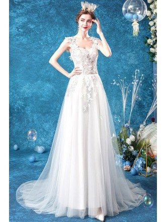 Fairy Petals Straps Sling Aline Wedding Dress Sheer Bodice With Sweep Train