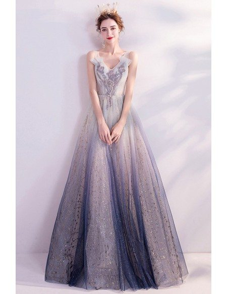Bling Ombre Blue Aline Prom Dress Vneck With Shinning Sequins