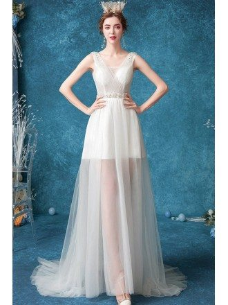 Retro Vneck Dotted See-through Wedding Dress Aline For Beach Weddings