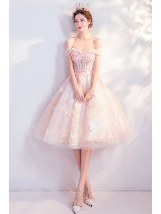 Cute Pink Appliques Flowers Knee Length Ballgown Prom Homecoming Dress