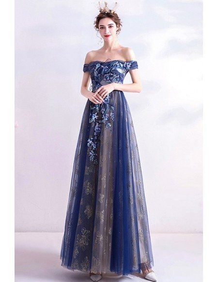 Navy Blue Off Shoulder Tulle Prom Party Dress With Embroidered Flowers