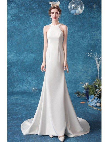 Simple Long Halter Mermaid Wedding Dress With Illusion Back