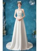 Simple Aline Lace Wedding Dress With Jeweled Belt Sweep Train