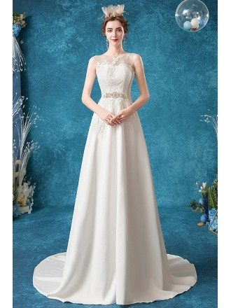 Simple Aline Lace Wedding Dress With Jeweled Belt Sweep Train