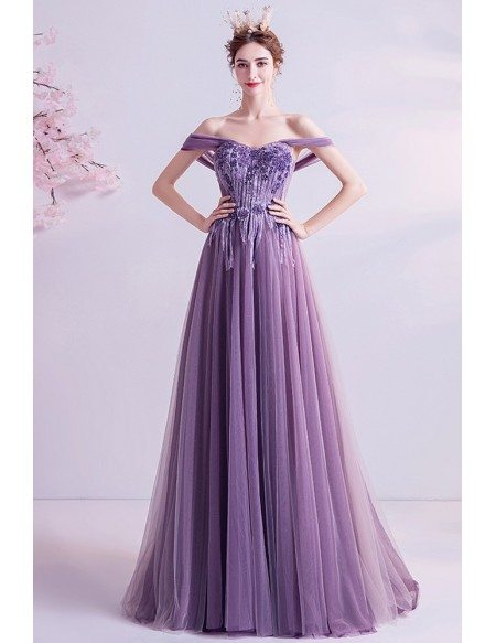 Gorgeous Purple Beaded Aline Prom Dress With Flowy Tulle