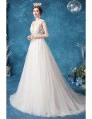 Sheer Waist Embroidered Lace Elegant Wedding Dress With Train