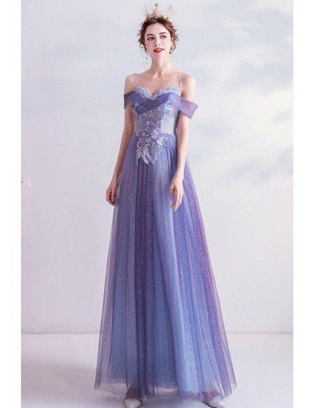 Purple Bling Tulle Slim Aline Prom Dress With Beaded Flowers