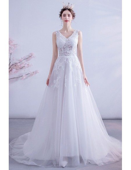 Illusion Lace Top Vneck Aline Wedding Dress Tulle With Train