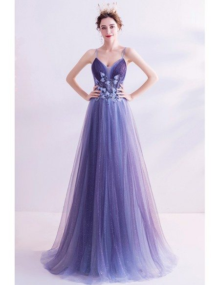 Slim Flowy Tulle Aline Prom Dress With Beadings Spaghetti Straps
