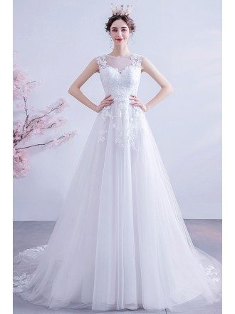 Lace Aline Tulle Sheer Neck Wedding Dress With Appliques Sweep Train