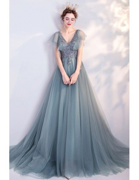Elegant Blue Green Tulle Flowy Long Prom Dress Vneck With Puffy Sleeves