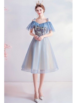 Blue Knee Length Tulle Cute Homecoming Prom Dress With Appliques