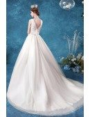 Vneck Lace Ballgown Wedding Dress With Sheer Lace Top