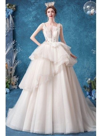 Ruffled Big Ballgown Tulle Wedding Dress With Sequined Straps