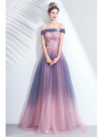 Special Bling Ombre Pink Tulle Flowy Prom Dress With Flowers