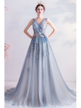 Elegant Blue Flowy Tulle Vneck Prom Dress With Appliques Laceup