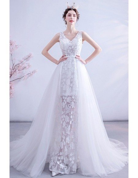 Fairy Lace Flowers Vneck Wedding Dress With Flowy Tulle