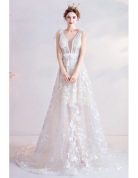 Sexy Vneck Boho Beach Wedding Dress With Appliques Flowers