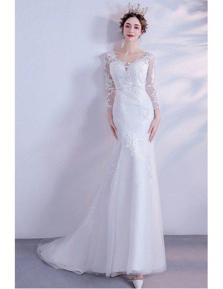 Elegant Vneck Empire Lace Sheath Wedding Dress With Lace Sleeves