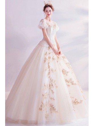 Romantic Champagne Gold Princess Ballgown Prom Dress With Bubble Sleeves