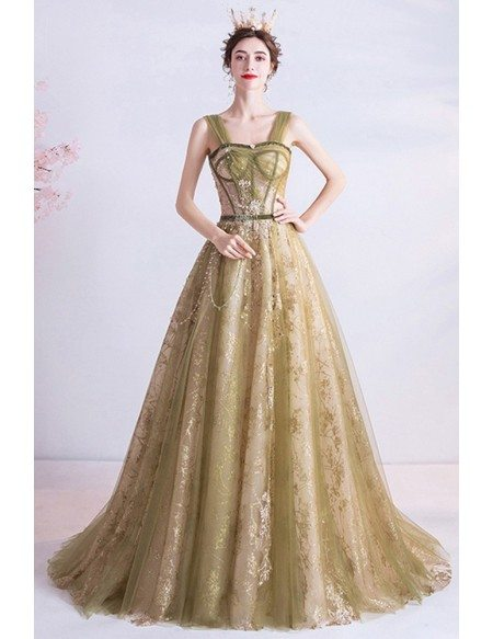 Green With Sparkly Gold Sequins Formal Long Prom Dress With Straps