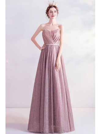 Bling Sequins Rose Pink Strapless Party Prom Dress With Laceup
