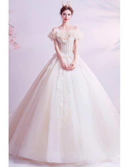 Beautiful Ruffle Flowers Big Ballgown Princess Wedding Formal Dress With Beadings