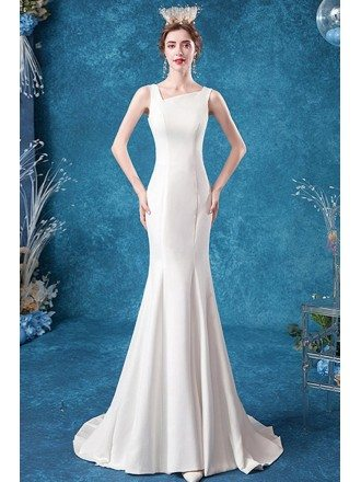 Slim Fit Elegant Mermaid Wedding Dress With Lace Long Train