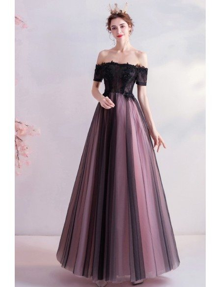 Classical Black Tulle Prom Formal Dress With Sheer Top Strapless