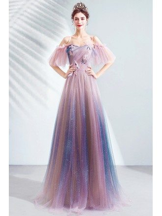 Dreamy Ombre Pink Purple Bling Tulle Aline Prom Dress For Teens