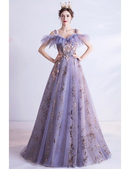Purple Tulle With Sparkly Sequins Long Prom Dress With Straps