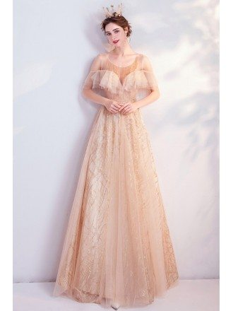 Elegant Champagne Gold Sequins Aline Party Prom Dress With Ruffles